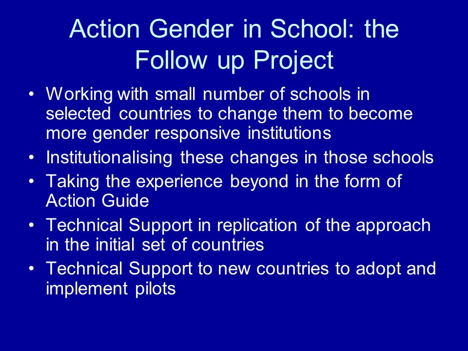 Action Gender in School: the Follow up Project Working with small number of schools in selected countries to change them to become more gender respons