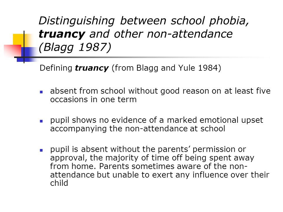 Intervention approaches associated with early formulations - psychodynamic (2) More recent thinking within child and adolescent psychiatry has emphasised the need for a rapid return to school wherever possible (Goodman & Scott 2002) with the possibility of individual psychotherapy to explore more persistent anxieties being offered once the child is back in school (Black & Cotterell, 1993).
