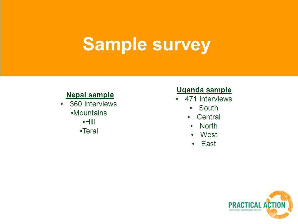 Sample survey Uganda sample 471 interviews South Central North West East Nepal sample 360 interviews Mountains Hill Terai