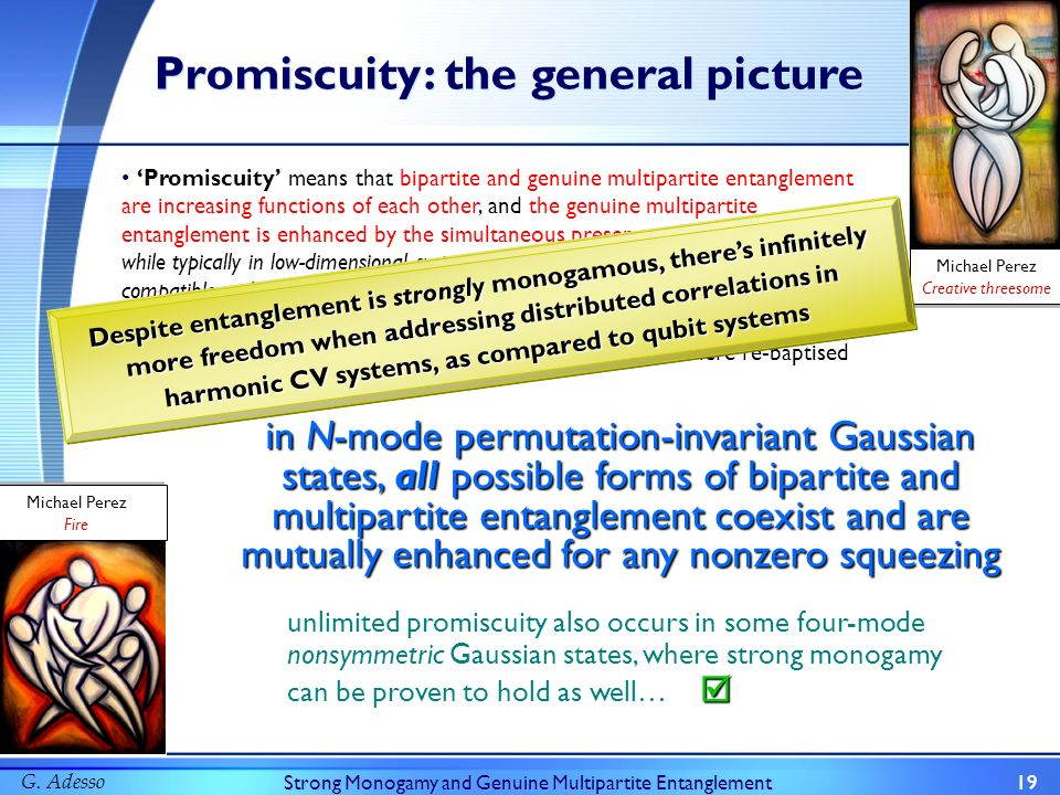 G. AdessoStrong Monogamy and Genuine Multipartite Entanglement19 Promiscuity Promiscuity means that bipartite and genuine multipartite entanglement ar
