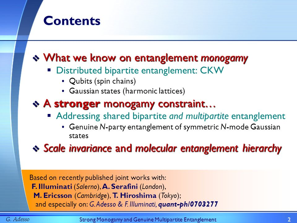 G. AdessoStrong Monogamy and Genuine Multipartite Entanglement2 Contents What we know on entanglement monogamy What we know on entanglement monogamy D