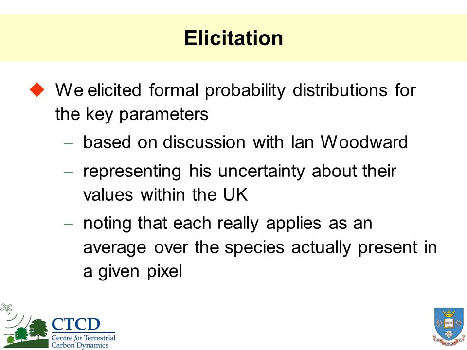 Elicitation We elicited formal probability distributions for the key parameters – based on discussion with Ian Woodward – representing his uncertainty