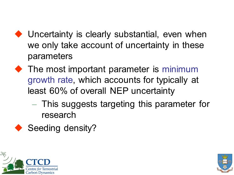 Uncertainty is clearly substantial, even when we only take account of uncertainty in these parameters The most important parameter is minimum growth r