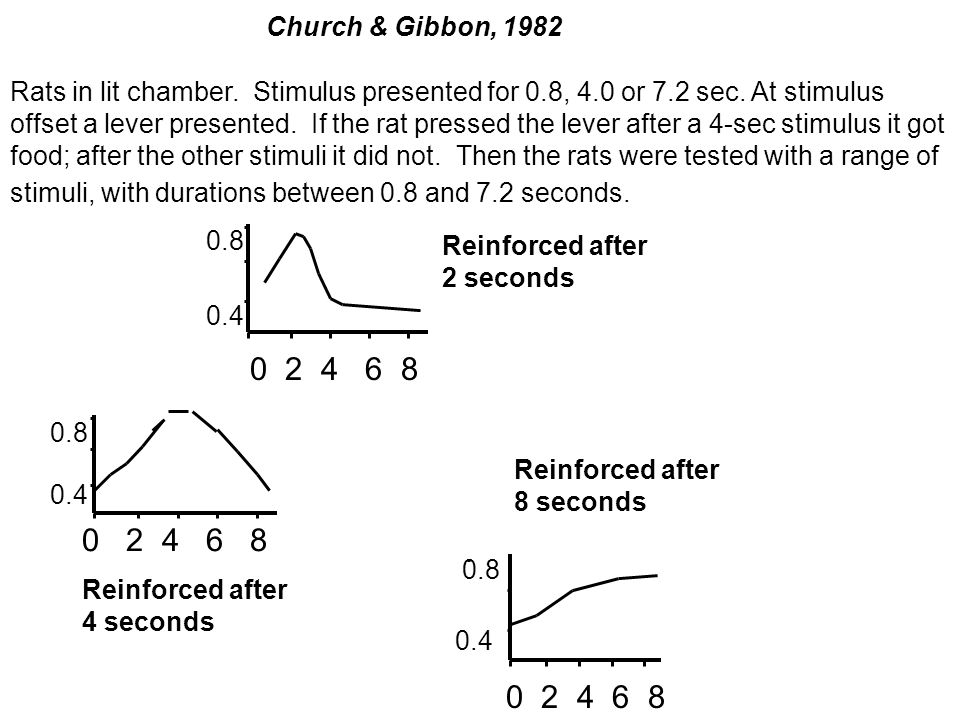 Church & Gibbon, 1982 Rats in lit chamber. Stimulus presented for 0.8, 4.0 or 7.2 sec. At stimulus offset a lever presented. If the rat pressed the le