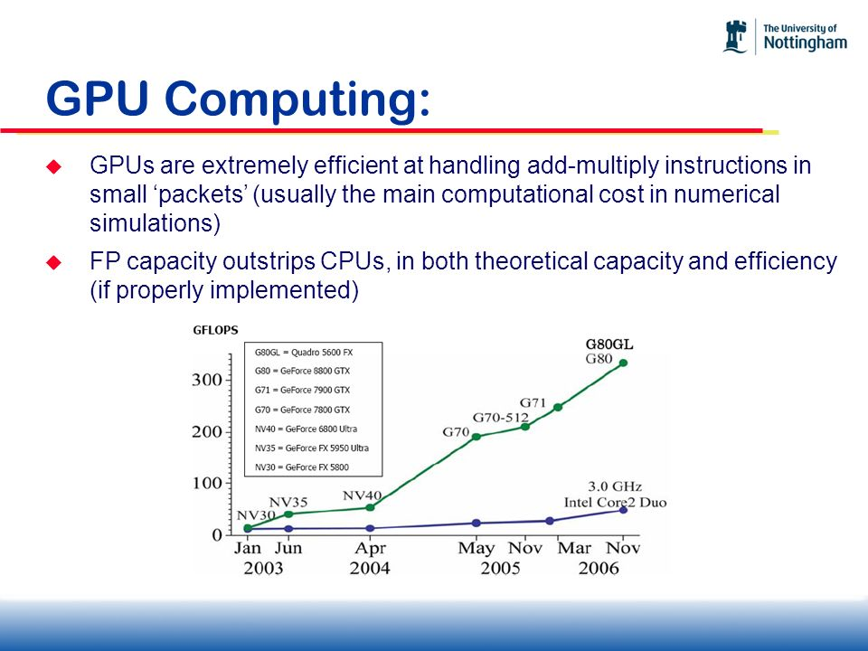 GPU Computing: GPUs are extremely efficient at handling add-multiply instructions in small packets (usually the main computational cost in numerical s