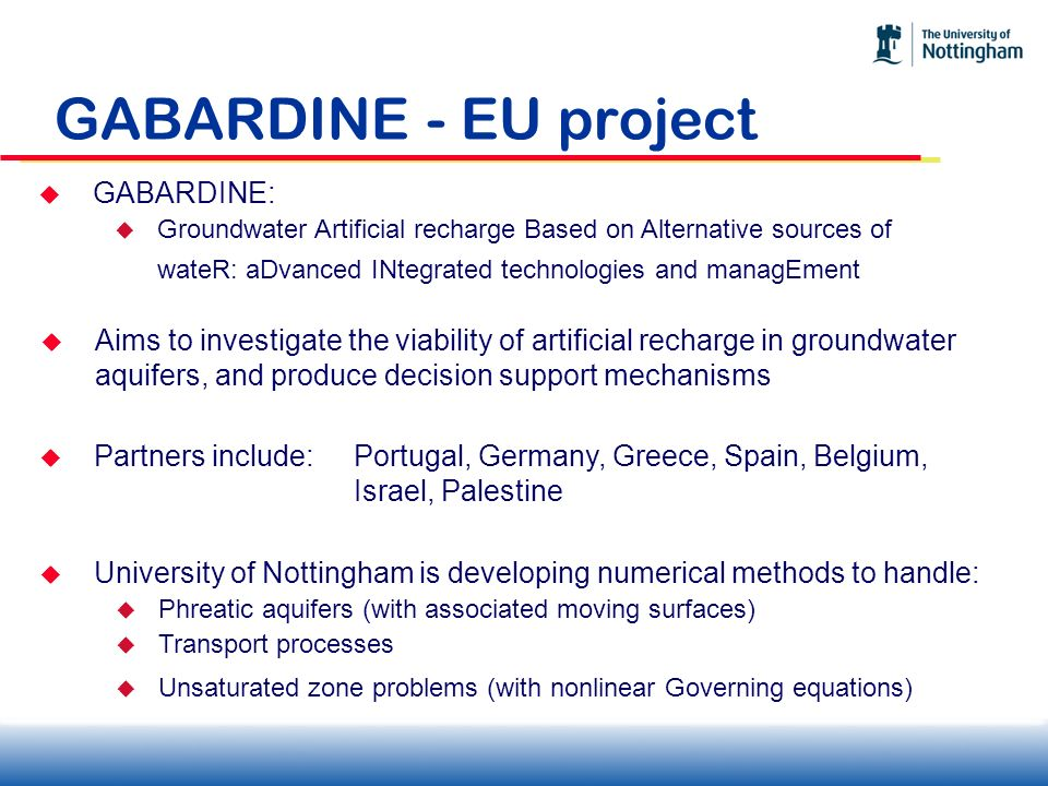 GABARDINE - EU project GABARDINE: Groundwater Artificial recharge Based on Alternative sources of wateR: aDvanced INtegrated technologies and managEme