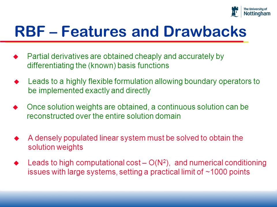 RBF – Features and Drawbacks Partial derivatives are obtained cheaply and accurately by differentiating the (known) basis functions Leads to a highly