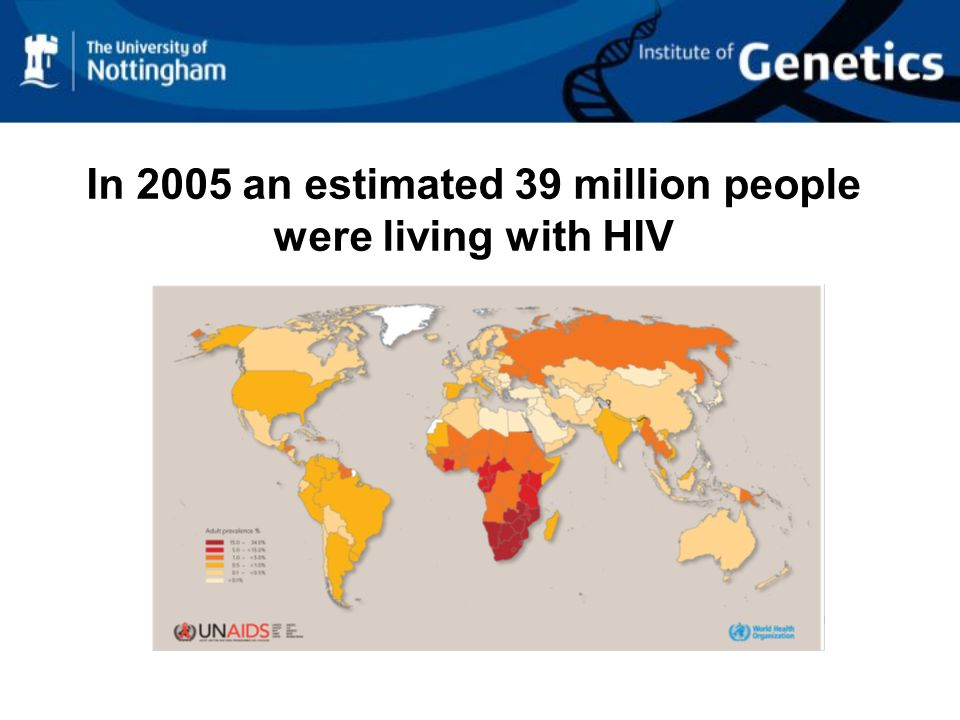 In 2005 an estimated 39 million people were living with HIV