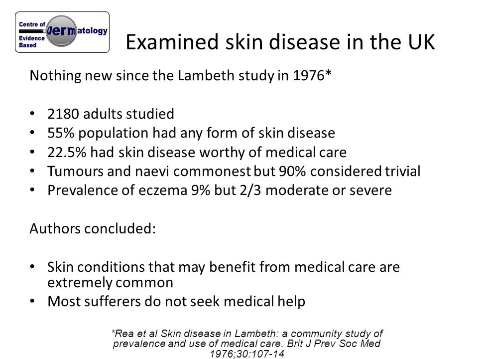 Examined skin disease in the UK Nothing new since the Lambeth study in 1976* 2180 adults studied 55% population had any form of skin disease 22.5% had
