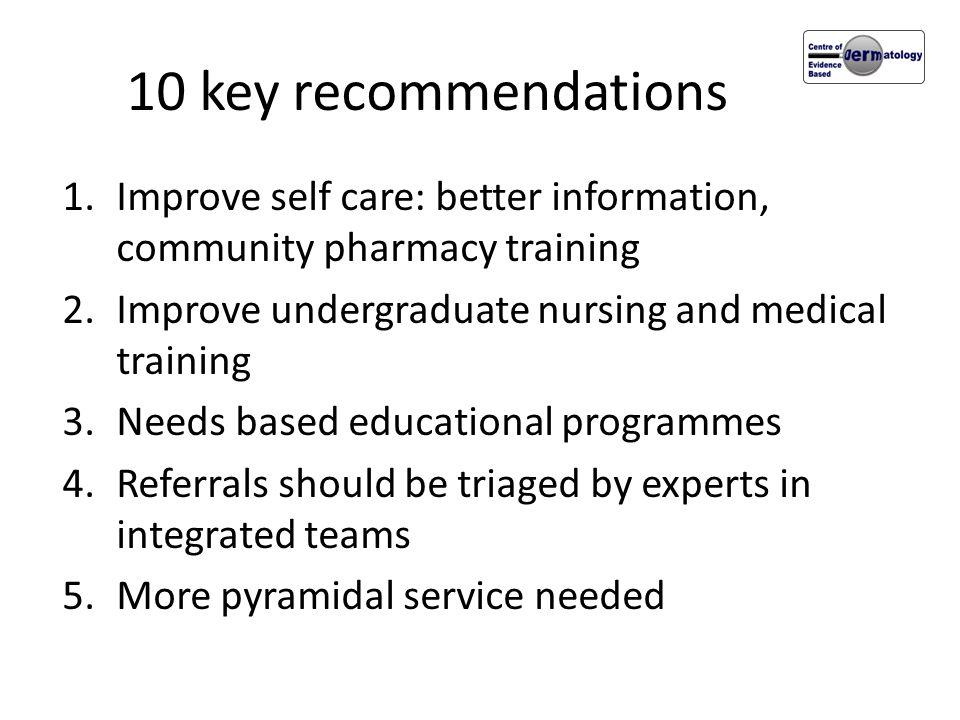 10 key recommendations 1.Improve self care: better information, community pharmacy training 2.Improve undergraduate nursing and medical training 3.Nee