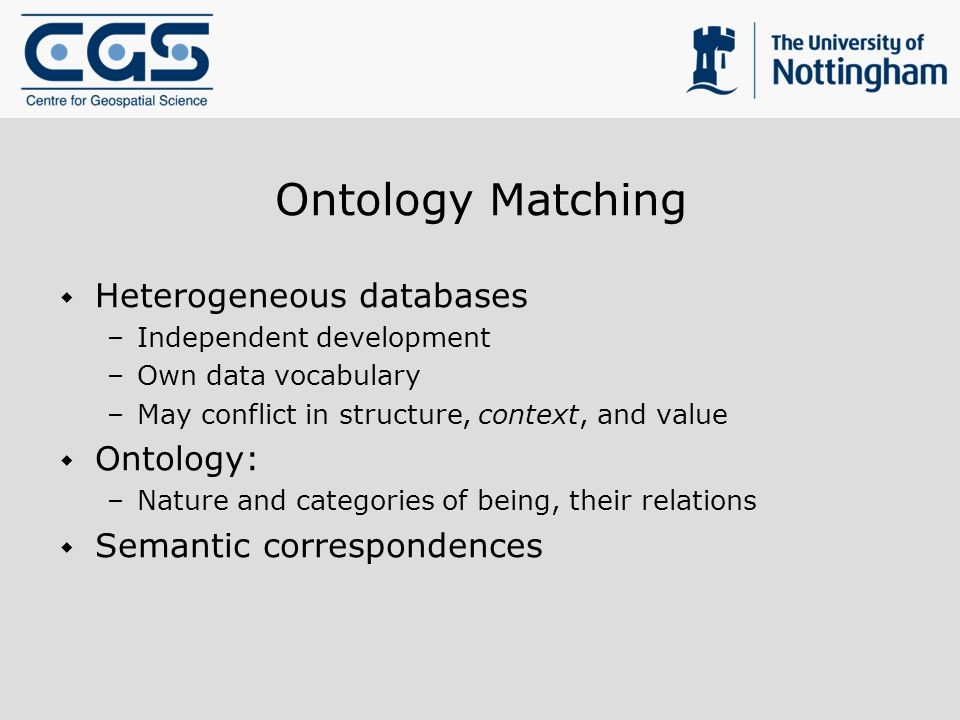 Ontology Matching Heterogeneous databases –Independent development –Own data vocabulary –May conflict in structure, context, and value Ontology: –Nature and categories of being, their relations Semantic correspondences