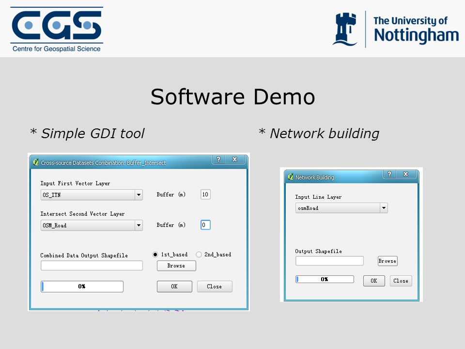 Software Demo * Simple GDI tool * Network building