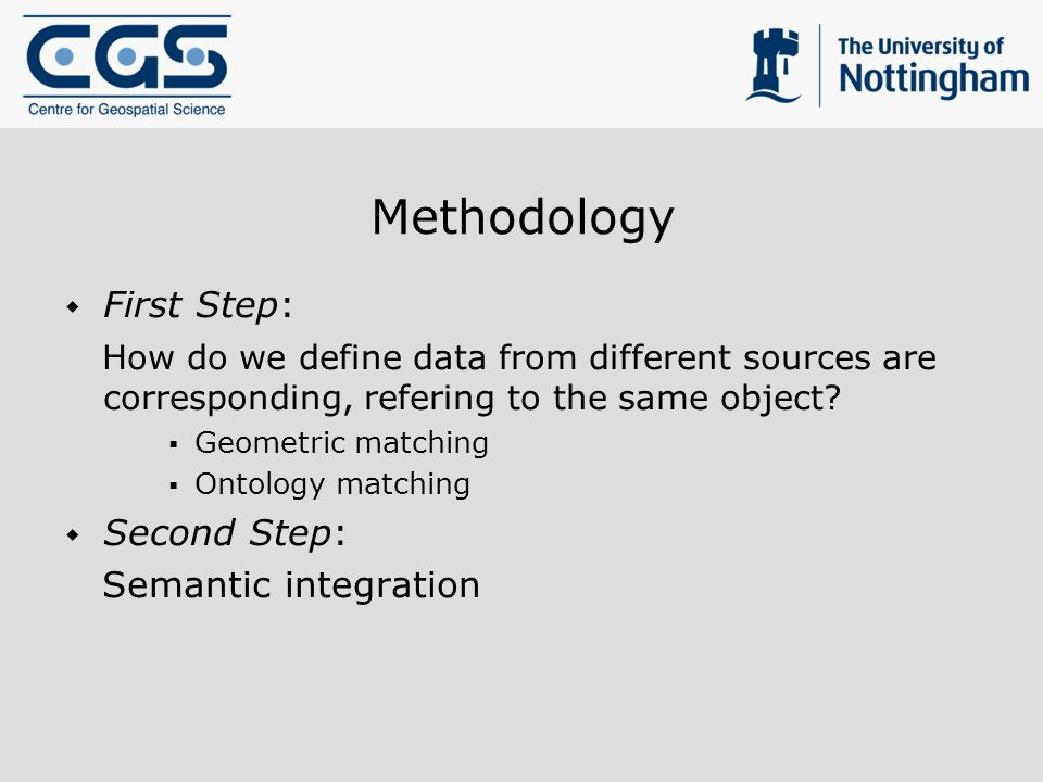 Methodology First Step: How do we define data from different sources are corresponding, refering to the same object? Geometric matching Ontology match