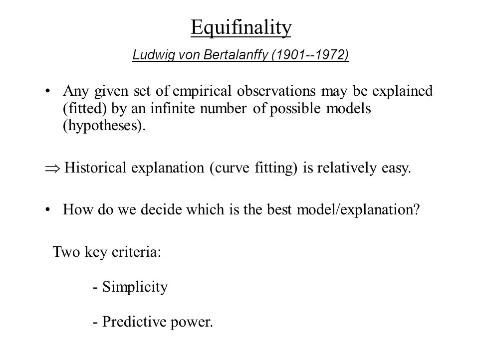 Any given set of empirical observations may be explained (fitted) by an infinite number of possible models (hypotheses).