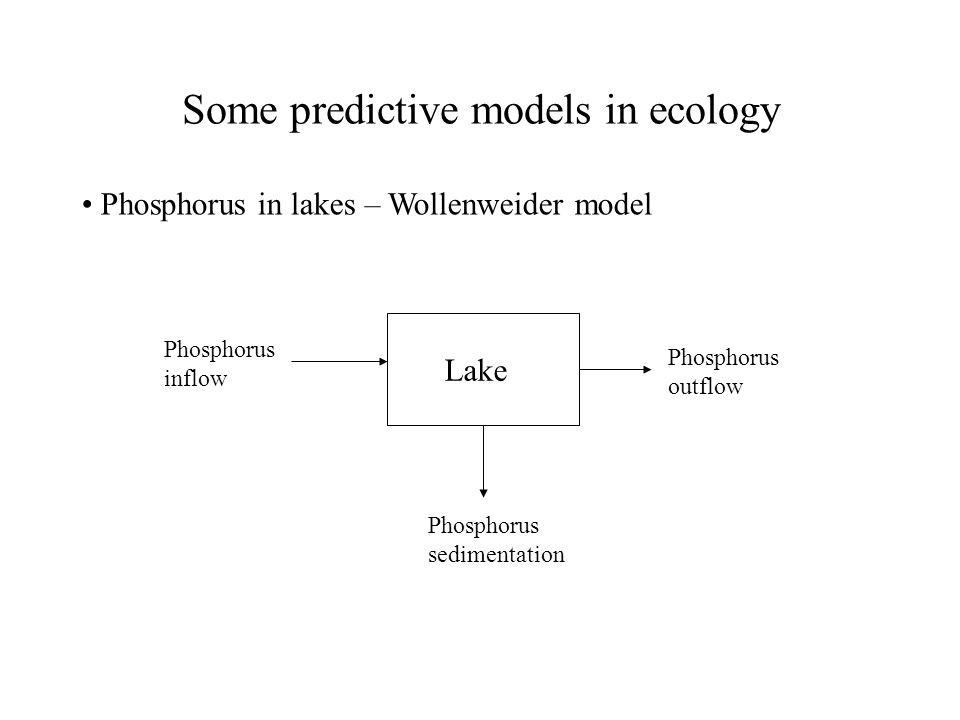 Some predictive models in ecology Phosphorus in lakes – Wollenweider model Lake Phosphorus inflow Phosphorus sedimentation Phosphorus outflow