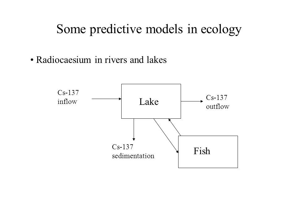 Some predictive models in ecology Radiocaesium in rivers and lakes Lake Cs-137 inflow Cs-137 sedimentation Cs-137 outflow Fish