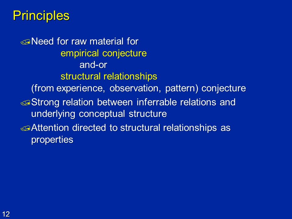 12 Principles Need for raw material for empirical conjecture and-or structural relationships (from experience, observation, pattern) conjecture Need f