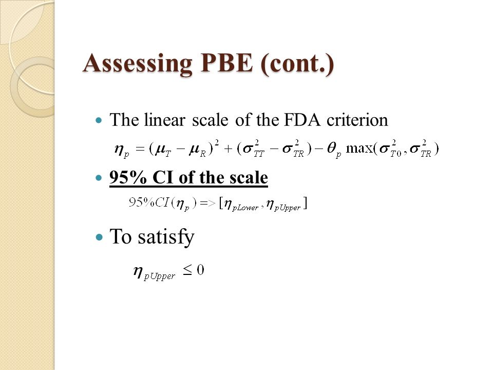 Assessing PBE (cont.) The linear scale of the FDA criterion 95% CI of the scale To satisfy