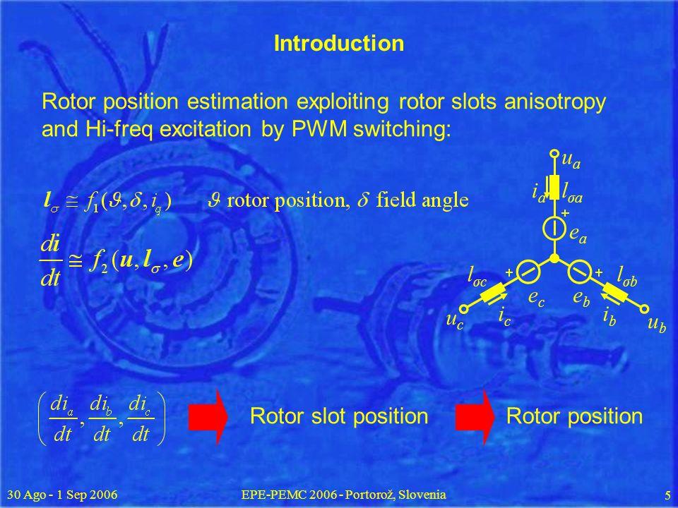 30 Ago - 1 Sep 2006EPE-PEMC 2006 - Portorož, Slovenia 5 eaea ebeb ecec lσalσa lσblσb lσclσc iaia icic ibib uaua ubub ucuc Rotor slot positionRotor position Rotor position estimation exploiting rotor slots anisotropy and Hi-freq excitation by PWM switching: Introduction