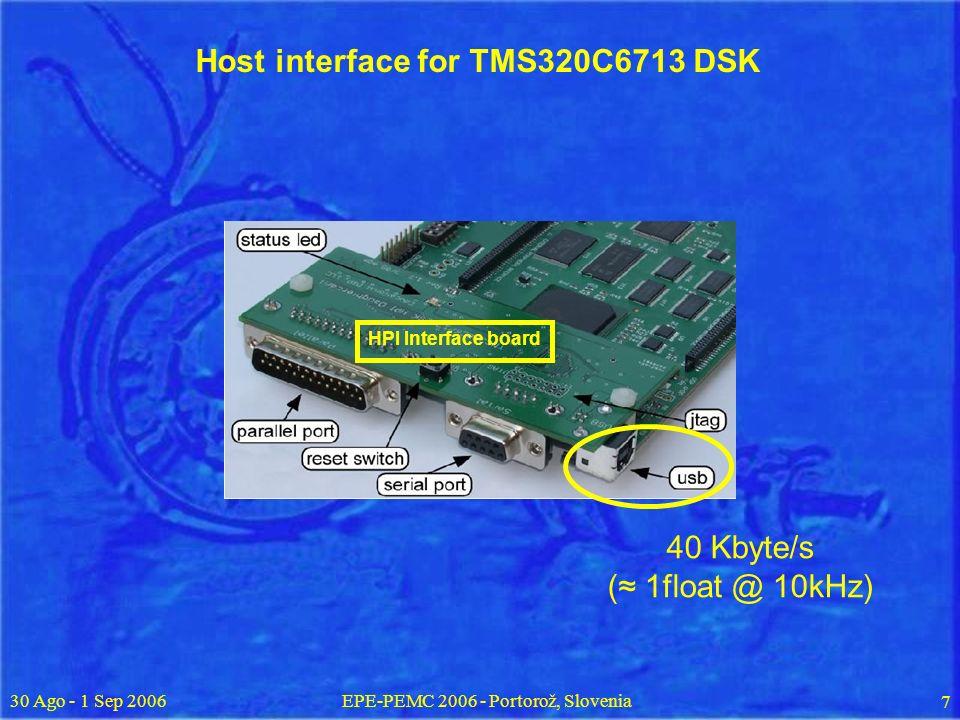 30 Ago - 1 Sep 2006EPE-PEMC 2006 - Portorož, Slovenia 7 Host interface for TMS320C6713 DSK HPI Interface board 40 Kbyte/s ( 1float @ 10kHz)