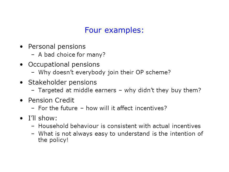 Four examples: Personal pensions –A bad choice for many.