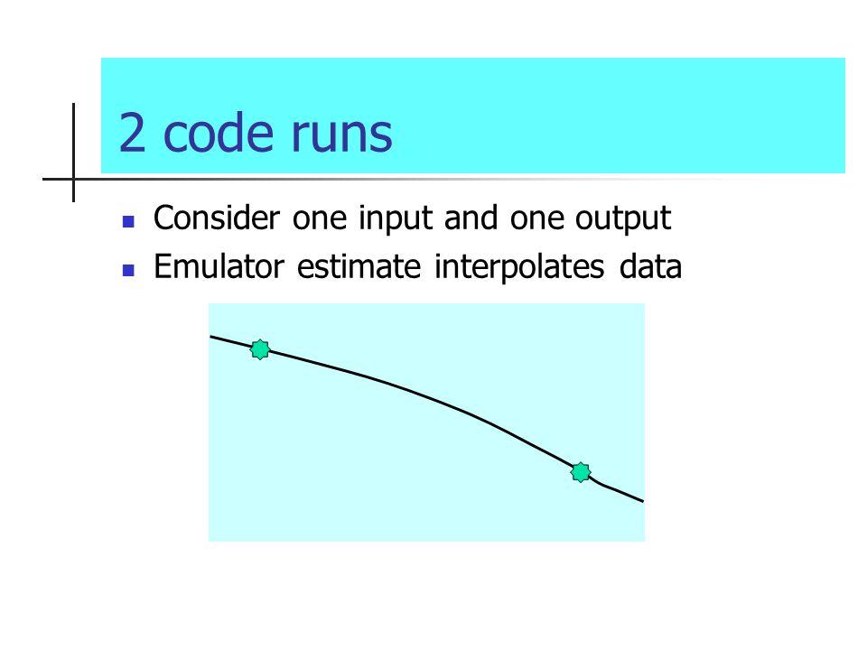 2 code runs Consider one input and one output Emulator estimate interpolates data