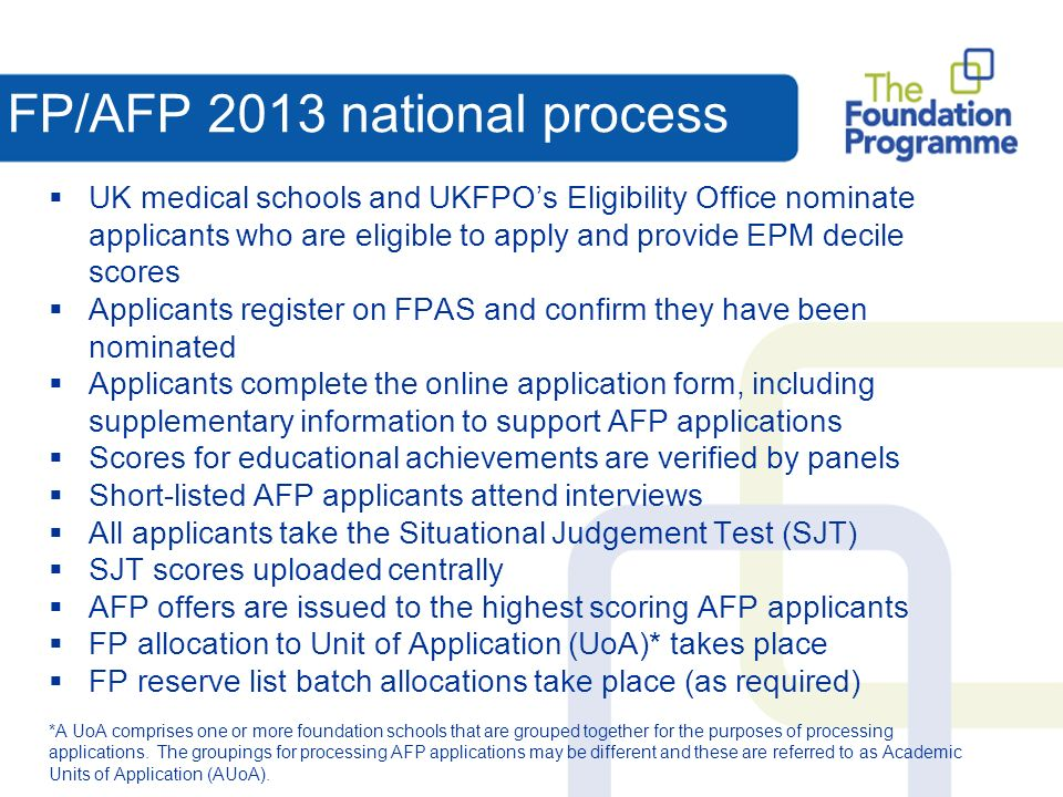 FP/AFP 2013 national process UK medical schools and UKFPOs Eligibility Office nominate applicants who are eligible to apply and provide EPM decile scores Applicants register on FPAS and confirm they have been nominated Applicants complete the online application form, including supplementary information to support AFP applications Scores for educational achievements are verified by panels Short-listed AFP applicants attend interviews All applicants take the Situational Judgement Test (SJT) SJT scores uploaded centrally AFP offers are issued to the highest scoring AFP applicants FP allocation to Unit of Application (UoA)* takes place FP reserve list batch allocations take place (as required) *A UoA comprises one or more foundation schools that are grouped together for the purposes of processing applications.