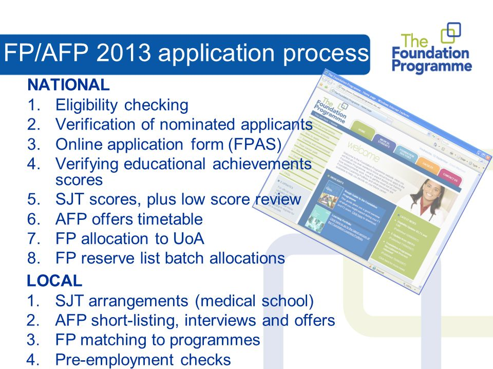 FP/AFP 2013 application process NATIONAL 1.Eligibility checking 2.Verification of nominated applicants 3.Online application form (FPAS) 4.Verifying educational achievements scores 5.SJT scores, plus low score review 6.AFP offers timetable 7.FP allocation to UoA 8.FP reserve list batch allocations LOCAL 1.SJT arrangements (medical school) 2.AFP short-listing, interviews and offers 3.FP matching to programmes 4.Pre-employment checks