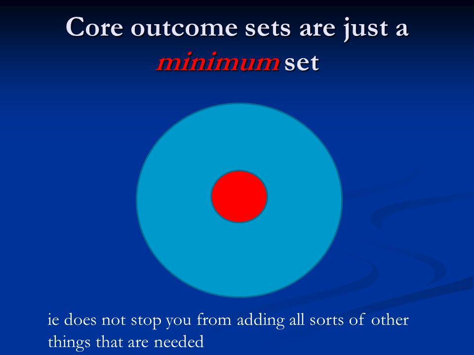 Core outcome sets are just a minimum set ie does not stop you from adding all sorts of other things that are needed