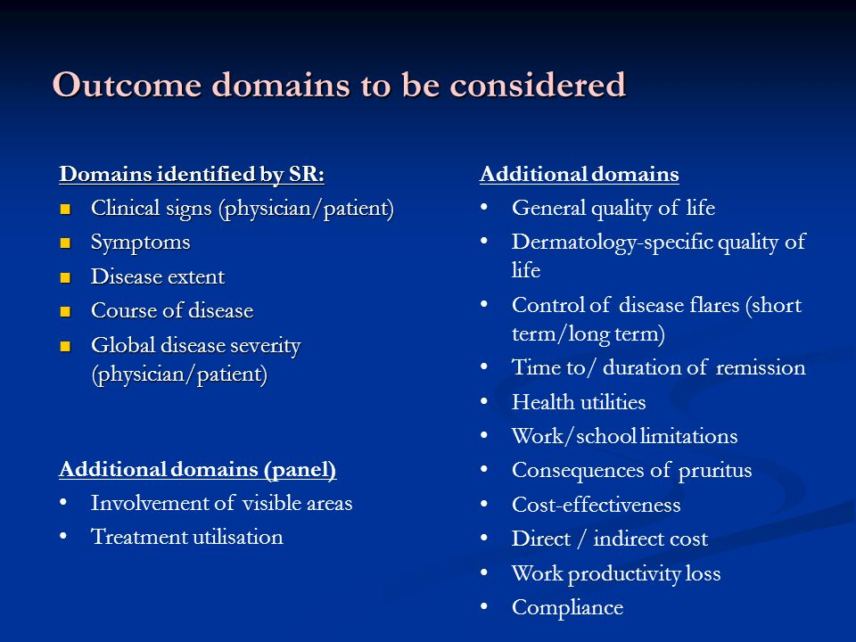 Domains identified by SR: Clinical signs (physician/patient) Clinical signs (physician/patient) Symptoms Symptoms Disease extent Disease extent Course