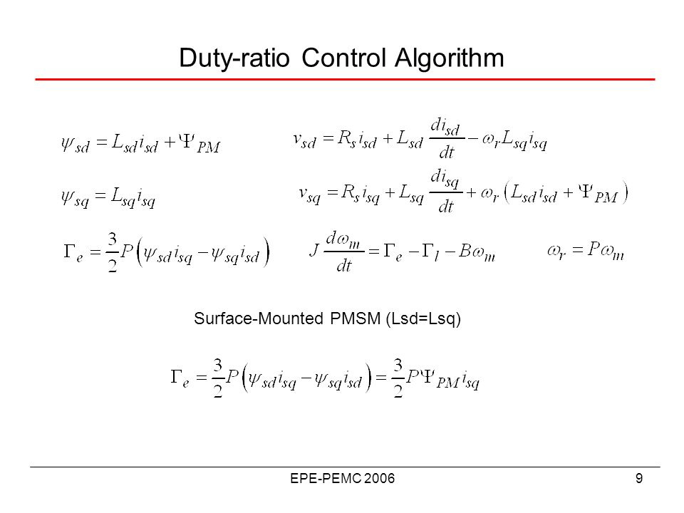 EPE-PEMC 20069 Duty-ratio Control Algorithm Surface-Mounted PMSM (Lsd=Lsq)