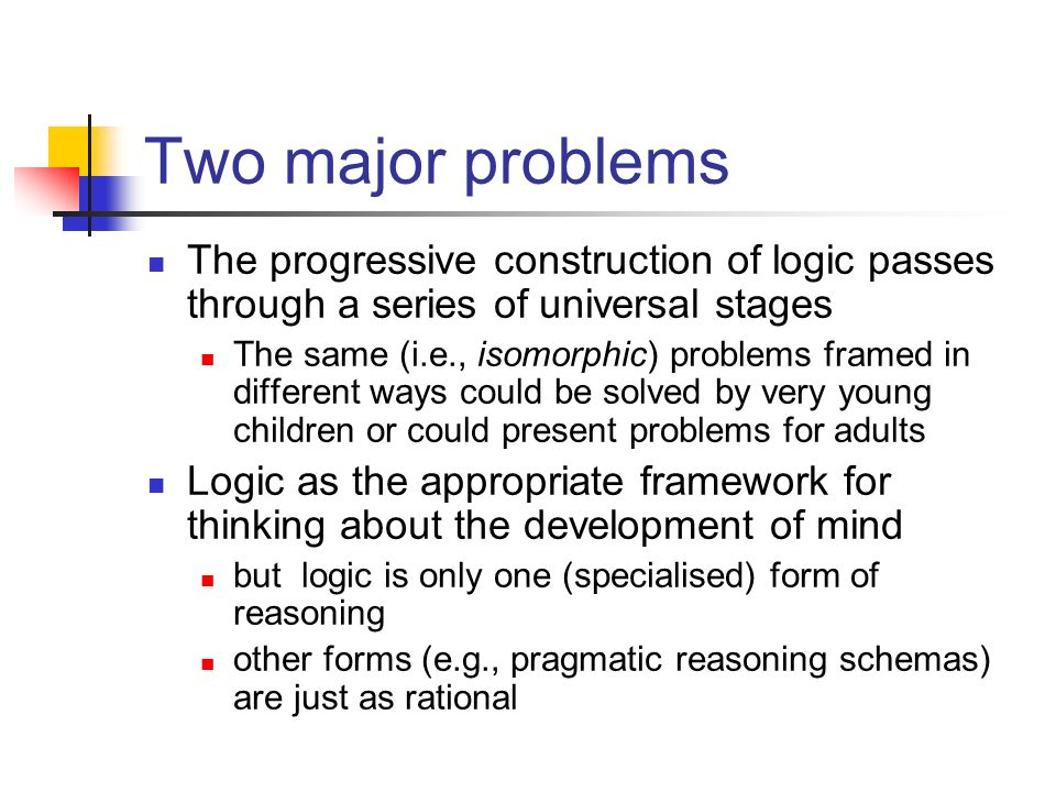 Two major problems The progressive construction of logic passes through a series of universal stages The same (i.e., isomorphic) problems framed in di