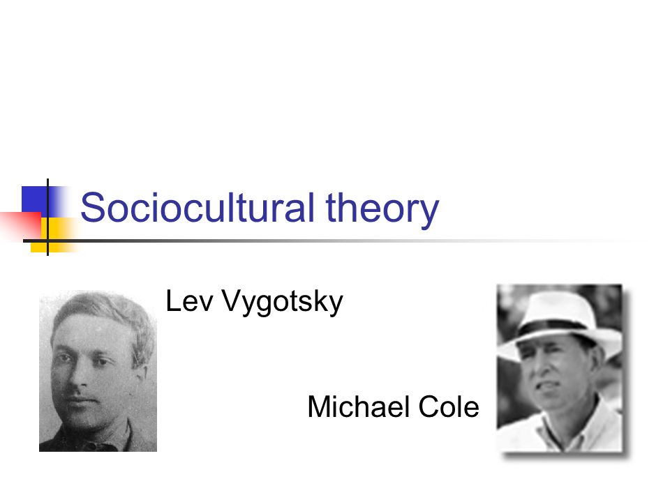 Sociocultural theory Lev Vygotsky Michael Cole
