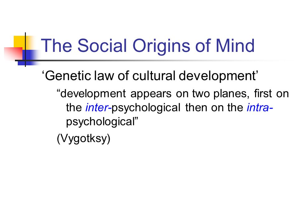Genetic law of cultural development development appears on two planes, first on the inter-psychological then on the intra- psychological (Vygotksy) Th