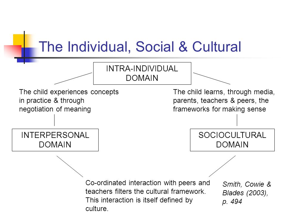 INTRA-INDIVIDUAL DOMAIN INTERPERSONAL DOMAIN SOCIOCULTURAL DOMAIN The child experiences concepts in practice & through negotiation of meaning The chil