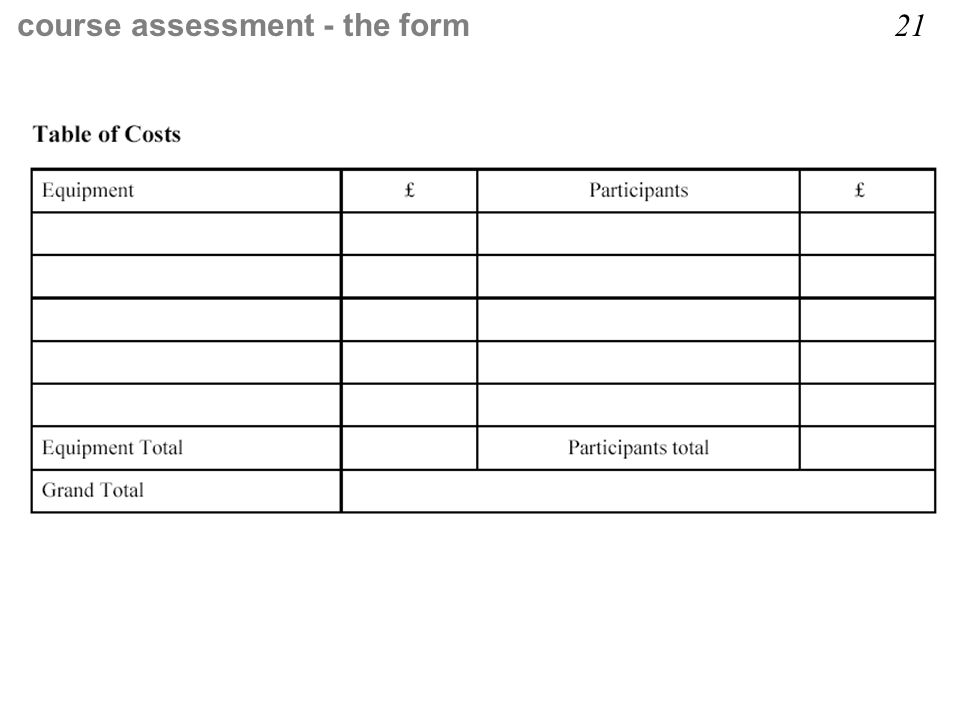 course assessment - the form 21