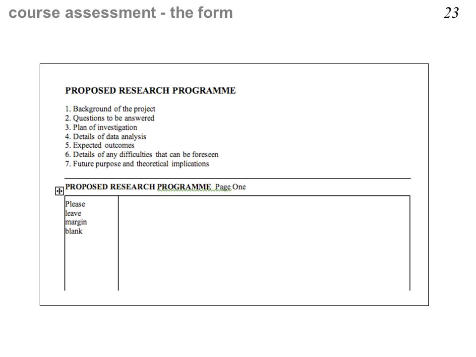 course assessment - the form 23