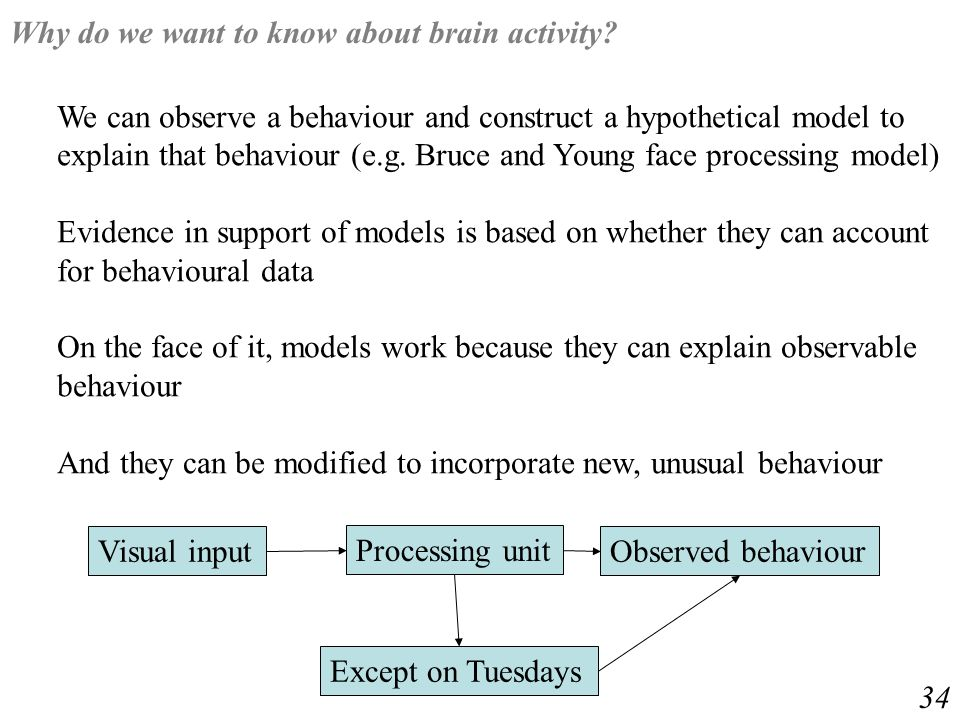 We can observe a behaviour and construct a hypothetical model to explain that behaviour (e.g.