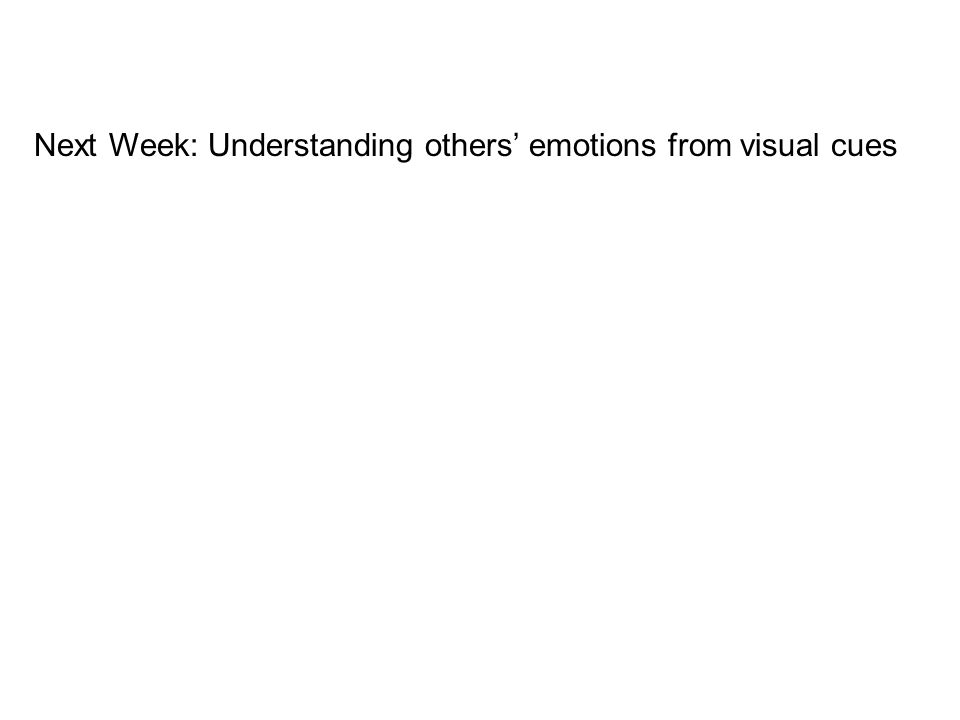 Next Week: Understanding others emotions from visual cues