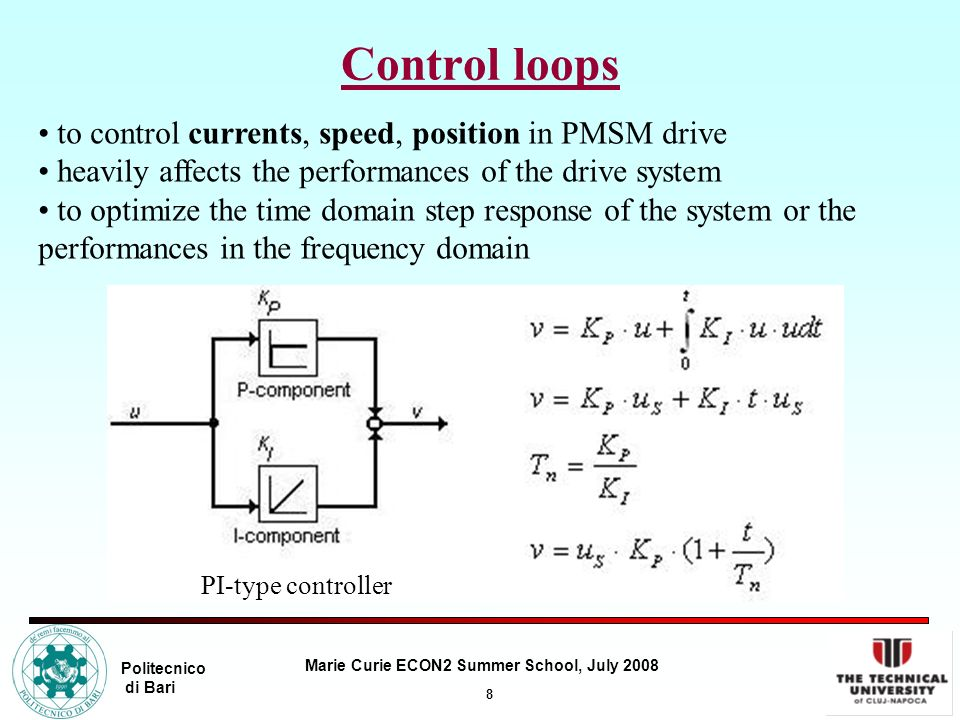 8 Marie Curie ECON2 Summer School, July 2008 Politecnico di Bari Control loops to control currents, speed, position in PMSM drive heavily affects the