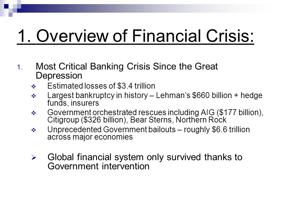 1. Overview of Financial Crisis: 1.