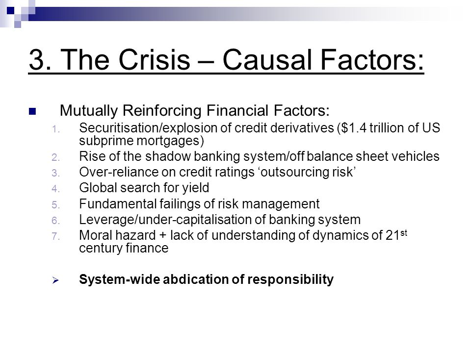 3. The Crisis – Causal Factors: Mutually Reinforcing Financial Factors: 1.