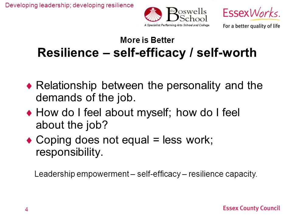 Developing leadership; developing resilience 4 More is Better Resilience – self-efficacy / self-worth Relationship between the personality and the demands of the job.