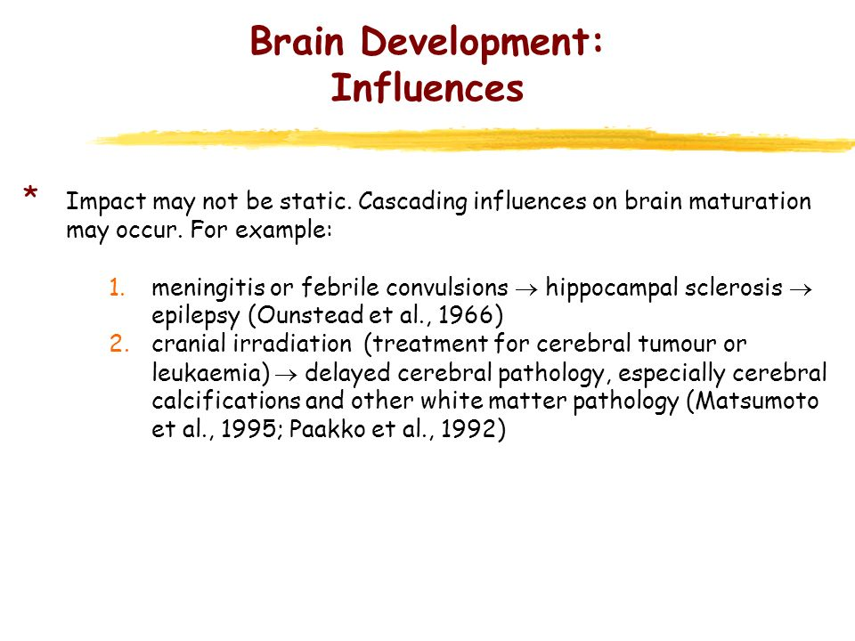 Brain Development: Influences * Impact may not be static. Cascading influences on brain maturation may occur. For example: 1.meningitis or febrile con
