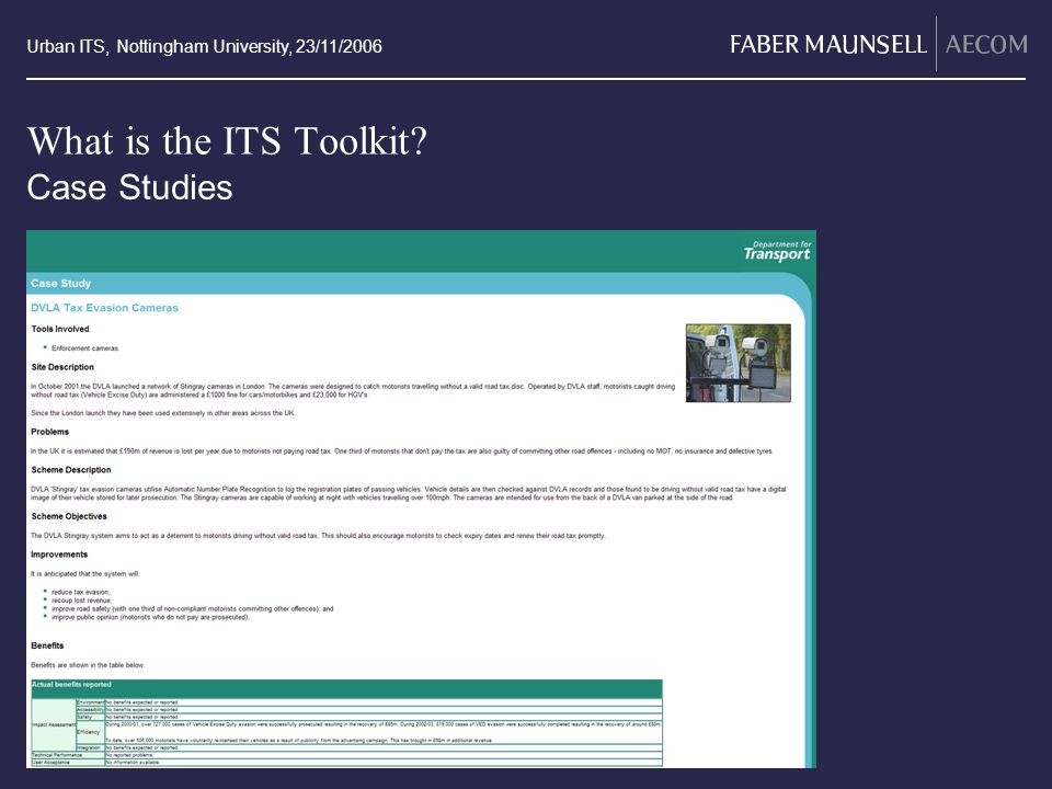 Urban ITS, Nottingham University, 23/11/2006 What is the ITS Toolkit? Case Studies