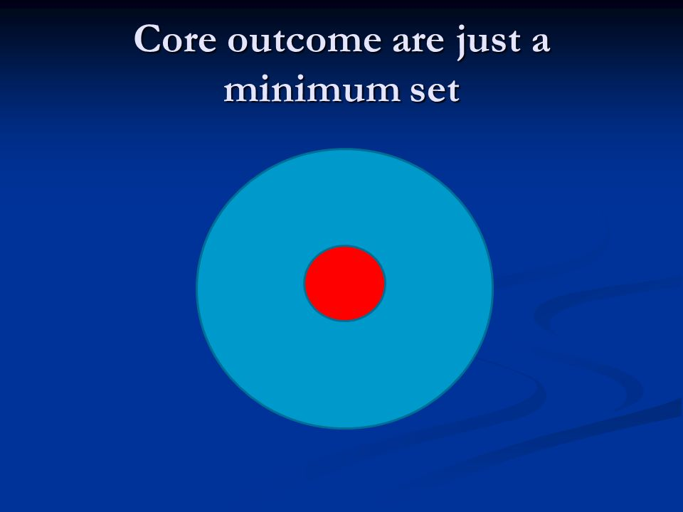 Core outcome are just a minimum set