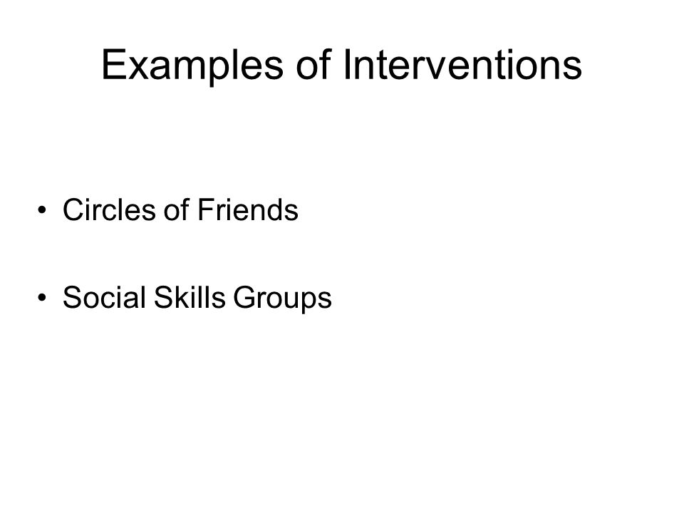 Examples of Interventions Circles of Friends Social Skills Groups
