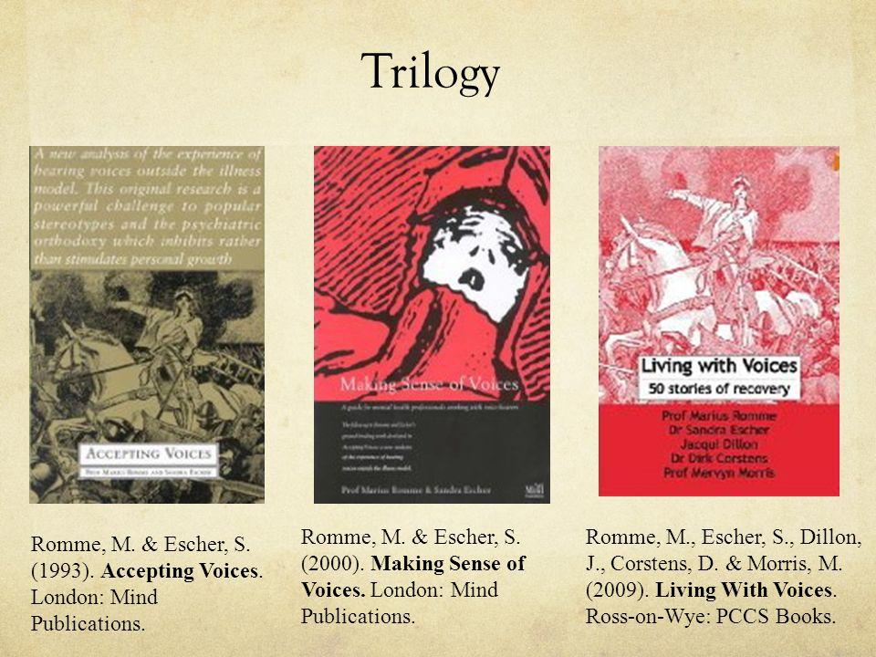 Trilogy Romme, M. & Escher, S. (1993). Accepting Voices. London: Mind Publications. Romme, M. & Escher, S. (2000). Making Sense of Voices. London: Min