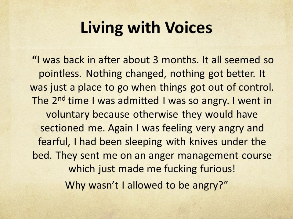 Living with Voices I was back in after about 3 months.