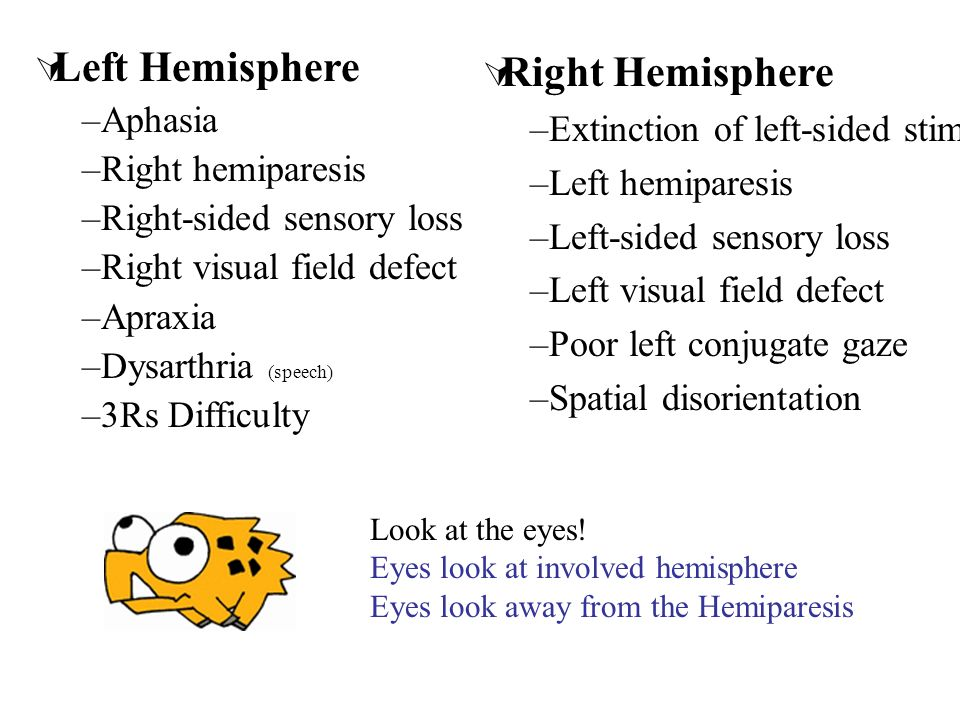 Left Hemisphere –Aphasia –Right hemiparesis –Right-sided sensory loss –Right visual field defect –Apraxia –Dysarthria (speech) –3Rs Difficulty Right H